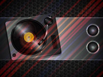Record deck and speaker on metallic background Stock Images