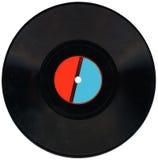 Record di vinile dell'annata, colore rosso, contrassegno blu, residuo della potatura meccanica, carbone Fotografia Stock