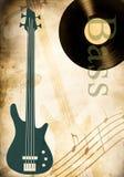 Record di vinile e della chitarra bassa royalty illustrazione gratis