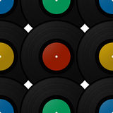 Record disk pattern. Vintage record disk seamless pattern design Stock Photos