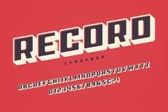 Record display font design, alphabet, typeface, uppercase charac. Record display font design, alphabet, typeface uppercase characters royalty free illustration