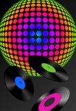 Record e sfera della discoteca Immagini Stock Libere da Diritti