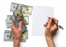 Record expenses on  white sheet Stock Image