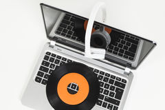 Record and headphones Stock Photography