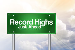 Record Highs Green Road Sign Stock Photo