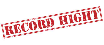 Record hight red stamp. On white background Royalty Free Stock Photo