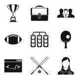 Record icons set, simple style. Record icons set. Simple set of 9 record vector icons for web isolated on white background Royalty Free Stock Photography