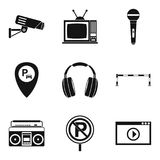 Record icons set, simple style. Record icons set. Simple set of 9 record vector icons for web isolated on white background Stock Photos