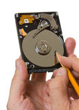 Record information on the hard disk Stock Photo