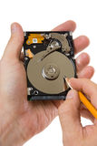 Record information on the hard disk Royalty Free Stock Photo