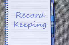 Record keeping write on notebook Stock Image
