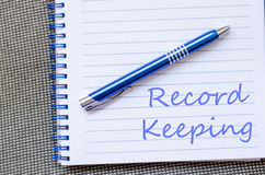 Record keeping write on notebook Royalty Free Stock Image