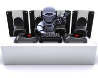 Record mescolantesi del DJ del robot sulle piattaforme girevoli Fotografia Stock Libera da Diritti