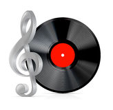 Record plate with treble clef Stock Photography