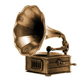 Record player. Old record player over white background. Retro image Royalty Free Stock Images