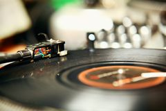 Record player. Spinning the disc with music Stock Image