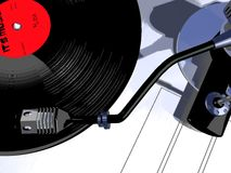 Record player. Record playing on turntable illustration Stock Photo