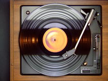 Record Player. An LP record being played on a 1980s era record player - viewed from above Royalty Free Stock Images