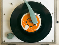 Record player close up shot. Royalty Free Stock Photos