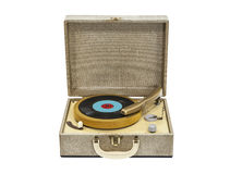 REcord Player Isolated. Old record player from the 1960s isolated with clipping path Royalty Free Stock Photos