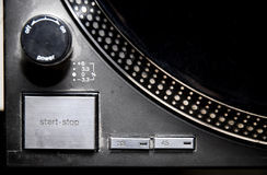 Record player - long play - turn table. Close up record player and start/stop button stock image