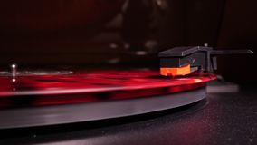 Record player playing in slowmo stock video