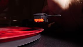 Record player playing in slowmo stock video footage