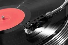 Record player playing vinyl Stock Photo