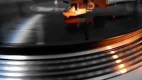 Record player on vinyl stock footage