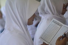 Record reading quran prisoners all over indonesia. Hundreds of Penitentiary Residents conducted Khataman Al-Qur`an in prison of Bulu Wanita Semarang on Thursday Royalty Free Stock Image