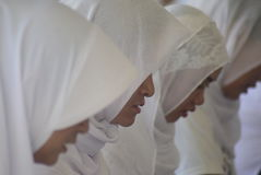Record reading quran prisoners all over indonesia. Hundreds of Penitentiary Residents conducted Khataman Al-Qur`an in prison of Bulu Wanita Semarang on Thursday Royalty Free Stock Photos