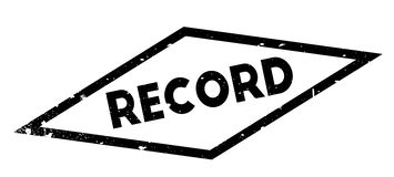 Record rubber stamp. Grunge design with dust scratches. Effects can be easily removed for a clean, crisp look. Color is easily changed Stock Photography