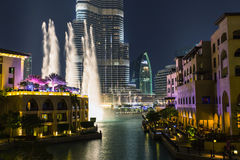Record-setting fountain system set on Burj Khalifa Royalty Free Stock Photography