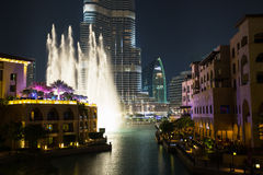 Record-setting fountain system set on Burj Khalifa Royalty Free Stock Images