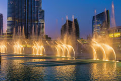 A record-setting fountain system set on Burj Khalifa Lake Royalty Free Stock Image