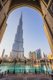 A record-setting fountain system set on Burj Khalifa Lake Royalty Free Stock Images