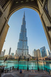 A record-setting fountain system set on Burj Khalifa Lake Stock Image