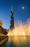 A record-setting fountain system set on Burj Khalifa Lake Royalty Free Stock Photography