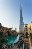A record-setting fountain system set on Burj Khalifa Lake Stock Images
