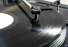 Record spinning. On a turntable stock photography