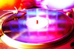 Record spinning in the club. Colorful Royalty Free Stock Images