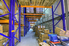 Record storage archives, boxes of stored records in warehouse. Royalty Free Stock Images