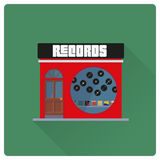 Record store building flat design vector illustration Stock Images
