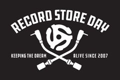 Record Store Day Badge or Emblem Vector Design. Black and white design featuring crossed turntable tone arms and vinyl record spindle adaptor insert, with the Stock Photo