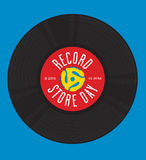 Record Store Day Design. Vector design featuring illustration of 45 rpm single record with record insert spindle adaptors and the words Record Store Day. Easy to Stock Images
