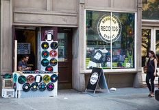 Record stores in New York. Bleecker Street  record stores  in Greenwich Village, New York City Royalty Free Stock Photo