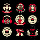 Record studio labels. Old style microphone, headphones, cassette Royalty Free Stock Image