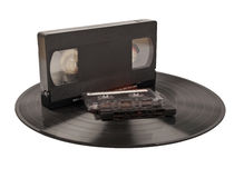 Record and tapes Stock Photo