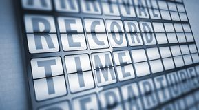 Record time information on display board Stock Photography
