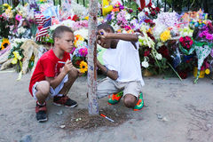 Recordar a las víctimas en la madre Emanuel Church, Charleston, SC Fotos de archivo